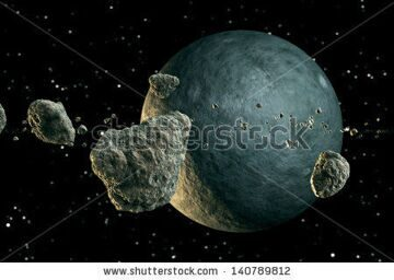 stock-photo-multiple-meteor-lumps-flying-in-space-planet-emerges-from-the-darkness-140789812