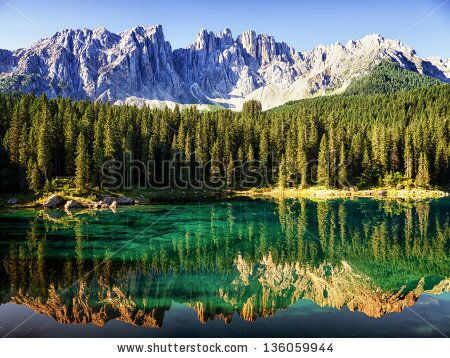 stock-photo-karerlake-at-the-dolomites-in-italy-136059944
