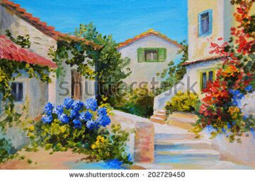 stock-photo-oil-painting-on-canvas-of-a-beautiful-houses-near-the-sea-abstract-drawing-202729450