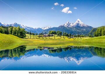 stock-photo-idyllic-summer-landscape-with-clear-mountain-lake-in-the-alps-206336914