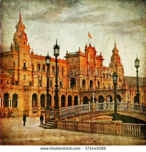 stock-photo-seville-plaza-espana-on-sunset-artistic-vintage-picture-171445289