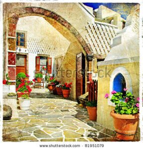 stock-photo-pictorial-courtyards-of-santorini-artistic-picture-81951079