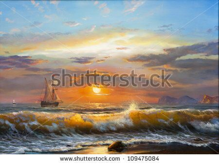 stock-photo-oil-painting-on-canvas-sailboat-against-a-background-of-sea-sunset-109475084