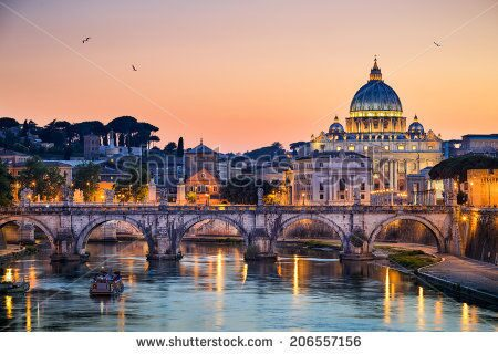 stock-photo-night-view-of-the-basilica-st-peter-in-rome-italy-206557156