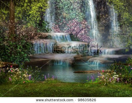 stock-photo-a-magical-landscape-with-waterfalls-flowers-and-trees-98635826