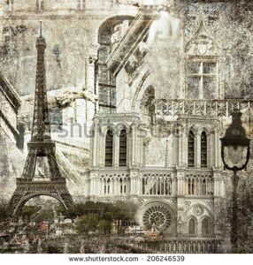 stock-photo-textured-grunge-paper-background-with-paris-architecture-vintage-style-206246539