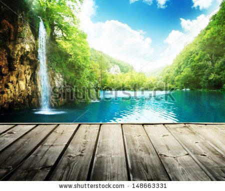stock-photo-waterfall-in-deep-forest-of-croatia-and-wood-pier-148663331