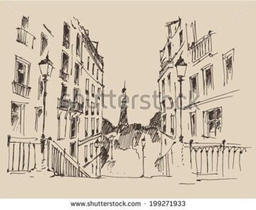 stock-vector-streets-in-paris-france-vintage-engraved-illustration-hand-drawn-sketch-199271933