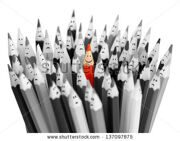 stock-photo-one-bright-color-smiling-pencil-among-bunch-of-gray-sad-pencils-137097875