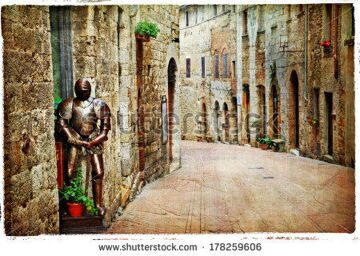 stock-photo-medieval-tuscany-streets-of-san-gimignano-artistic-vintage-picture-178259606