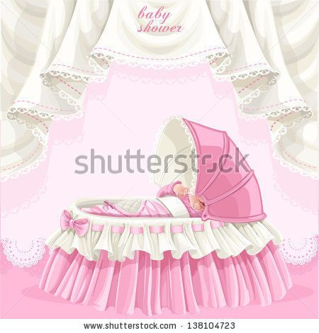 stock-vector-pink-baby-shower-card-with-cute-little-baby-in-the-crib-138104723
