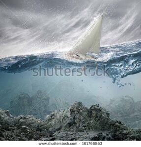 stock-photo-submerged-ocean-view-with-yacht-floating-above-161766863