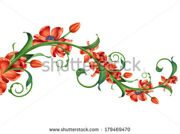 stock-photo-brunch-with-abstract-red-blooming-flowers-floral-design-element-illustration-on-white-background-179469470