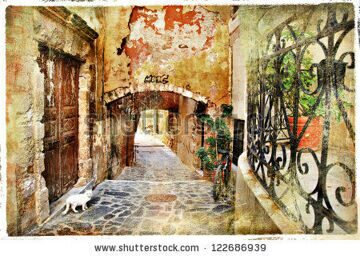 stock-photo-old-pictorial-greek-streets-vintage-artistic-series-122686939