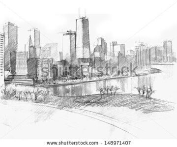 stock-photo-pencil-drawing-of-a-landscape-with-bay-and-set-of-skyscrapers-in-chicago-148971407