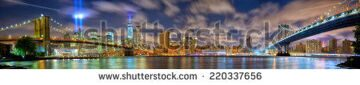 stock-photo-lower-manhattan-skyline-panorama-with-the-towers-of-lights-tribute-in-light-in-new-york-city-220337656