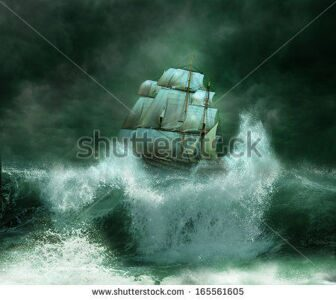 stock-photo--old-ship-sailing-in-the-marine-thunderstorm-165561605