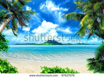 stock-photo-tropical-coast-beach-with-hang-palm-trees-view-of-the-sea-the-island-green-and-the-sky-with-97837076