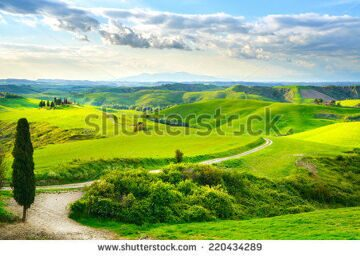 stock-photo-tuscany-rural-sunset-landscape-countryside-farm-cypresses-trees-green-field-sun-light-and-220434289
