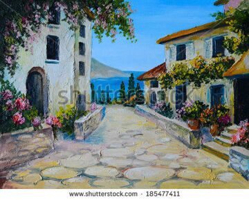 stock-photo-oil-painting-on-canvas-of-a-beautiful-houses-near-the-sea-abstract-drawing-185477411