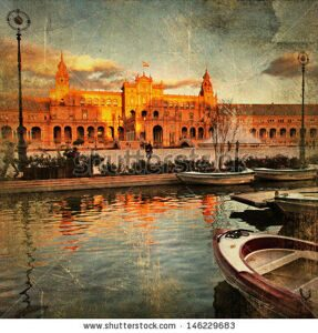 stock-photo-seville-plaza-espana-on-sunset-artistic-vintage-picture-146229683