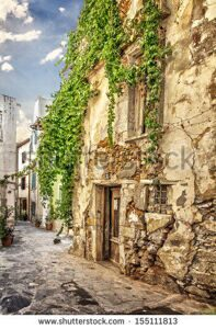 stock-photo-image-of-romantic-old-street-in-greece-chania-crete-155111813