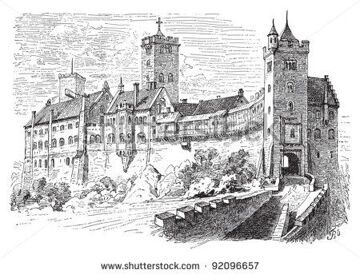 stock-vector-castle-wartburg-in-eisenach-germany-vintage-illustration-illustration-from-meyers-92096657
