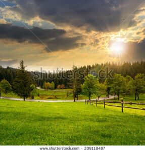 stock-photo-summer-mountain-landscape-curve-asphalt-road-and-wooden-fence-near-the-meadow-on-hillside-with-209118487