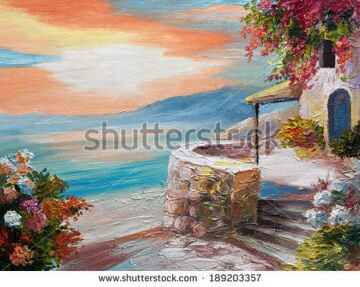 stock-photo-oil-painting-on-canvas-greek-embankment-189203357