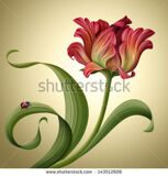 stock-photo-illustration-of-a-beautiful-abstract-red-tulip-flower-with-ladybug-sitting-on-green-curly-leaf-143512606