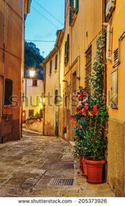 stock-photo-narrow-street-in-the-old-town-at-night-in-italy-205373926