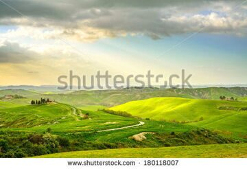 stock-photo-tuscany-rural-sunset-landscape-countryside-farm-cypresses-trees-green-field-sun-light-and-180118007