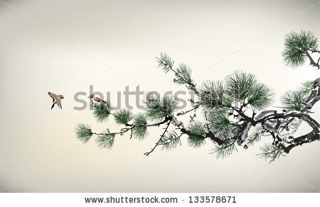 stock-vector-ink-style-pine-tree-and-birds-133578671