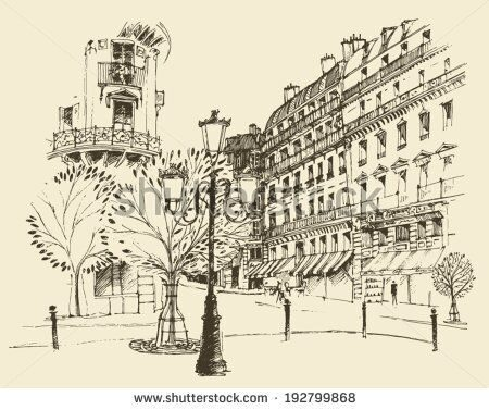 stock-vector-streets-in-paris-france-vintage-engraved-illustration-hand-drawn-192799868