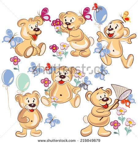 stock-vector-set-of-vector-hand-drawn-cartoon-bears-for-childish-design-219849679